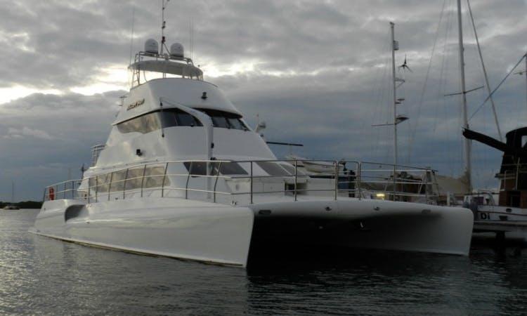 Charter the 74' VIP Luxury Bolder Power Catamaran in Cancún, Quintana Roo