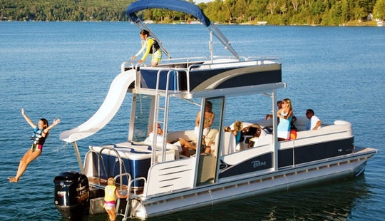 27' Pontoon Rental With Slide On Bull Shoals Lake, Arkansas