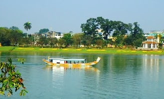 Dragon boat trip on Perfume river in Hue city