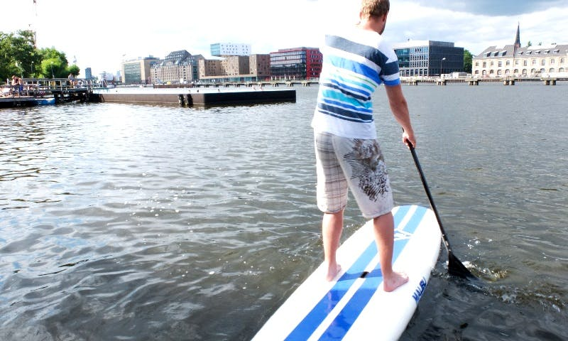 Stand Up Paddling at the Badeschiff in Berlin