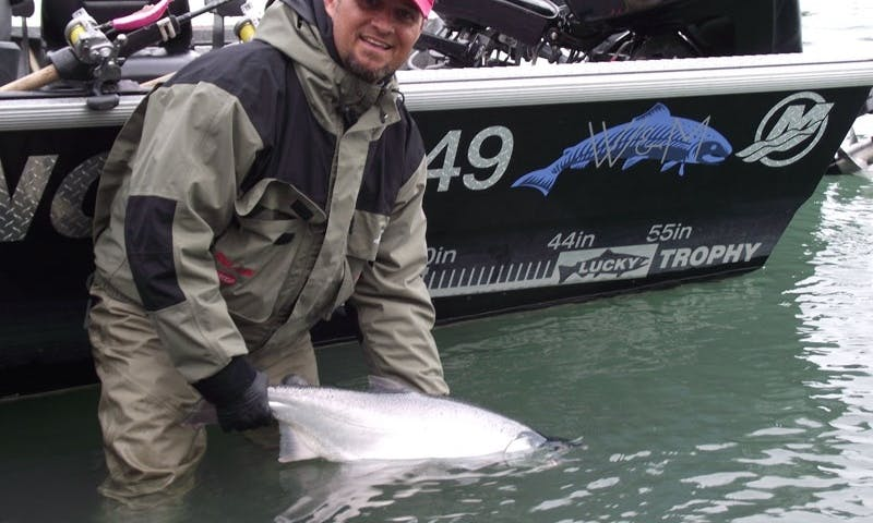 King Salmon Fishing Trip in Soldotna, Alaska on a Bass Boat