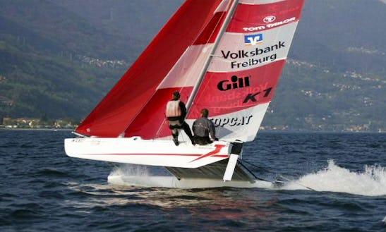 18ft Topcat K1 Classic Beach Catamaran Rental In Pavilosta, Latvia