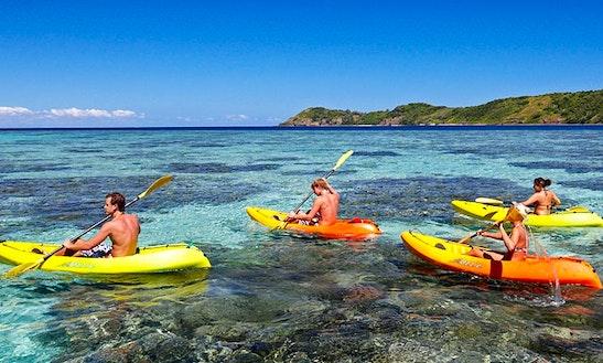 Fun Kayaking Day In Fornells, Spain