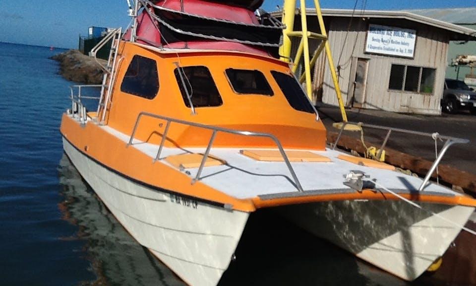 "Enjoy 30 ft ""Alele"" Power Catamaran Fishing Charter in Kaunakakai, Hawaii"
