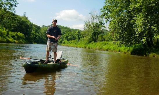 14' Guided Kayak Fly Fishing Trips Rental In Iron Mountain, Michigan