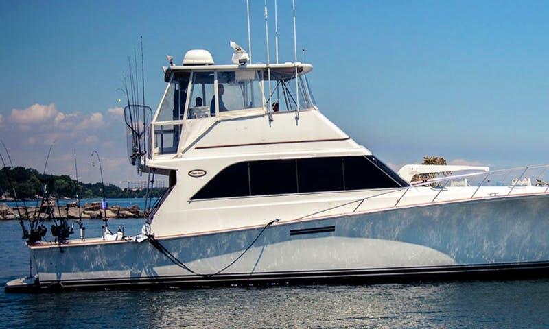"Fishing Charter On 61ft ""UnReel"" Ocean Sport Fisherman Yacht In Ontario, Canada"