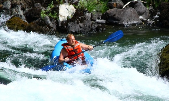 Guided Inflatable Kayaks Rafting Trips On Trinity River From Willow Creek, Ca