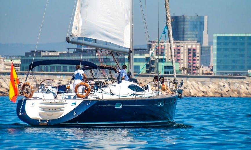 "55ft ""Anna Katherina"" Jeanneau Sun Odyssey Cruising Monohull Boat Charter in Barcelona, Spain"
