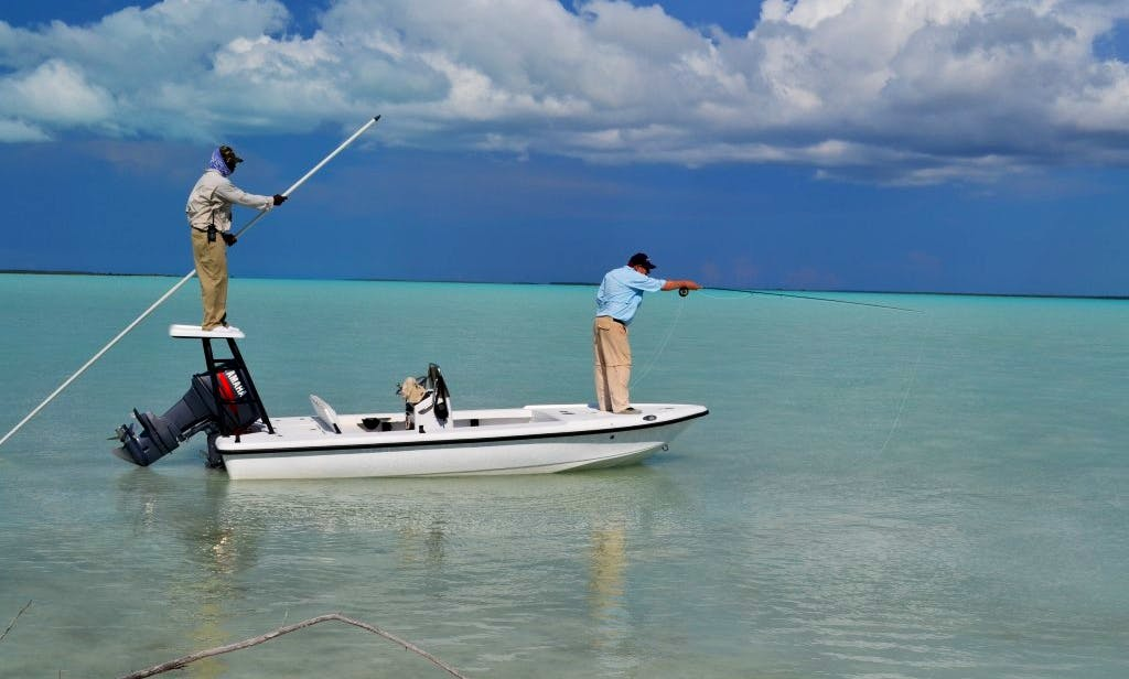 Guided Fishing Rental On 17' Action Craft Skiff In North Andros, The Bahamas