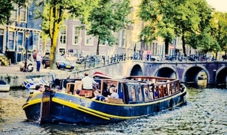 """48ft """"Bota Fogo"""" Canal Barge Boat Rental in Amsterdam, North Holland"""