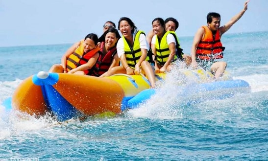 Fun Banana Boat Rides At Tanjung Benoa Beach In Bali, Indonesia