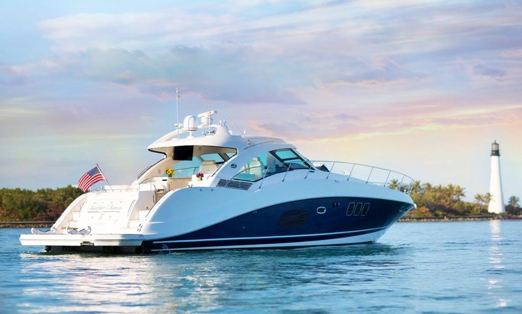 Charter 60' Pristine Sundancer Motor Yacht In Miami Beach/Ft Lauderdale , Florida