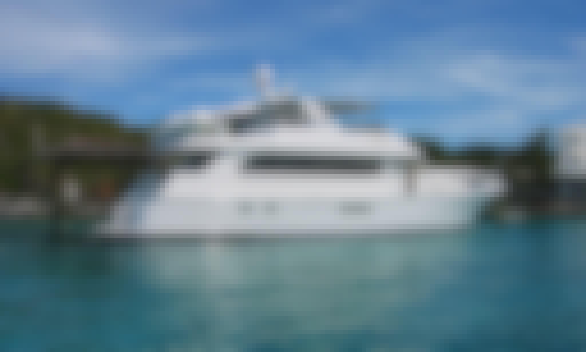"Charter 76ft ""Temptation"" Hatteras Motor Yacht In Staniel Cay, Exuma Bahamas"