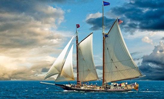 Historic Schooner Sailing In Rockland, Maine