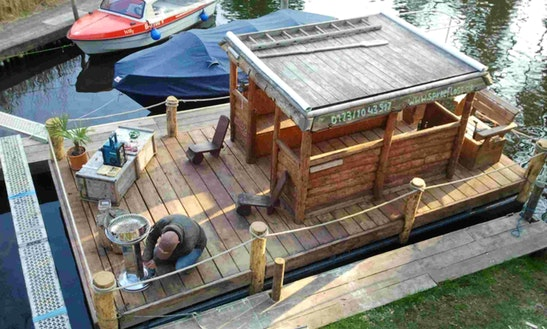 21ft Spree Mobile Wooden Raft Pontoon Boat Rental In Berlin, Germany