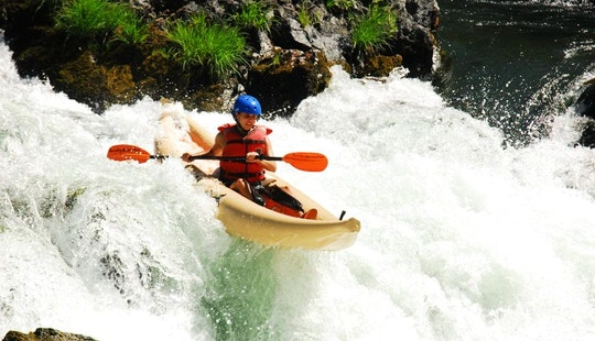 Whitewater Rafting With Inflatable Kayaks On Trinity River In Big Bar, California