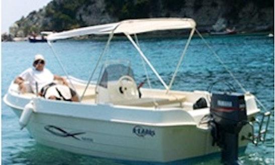 16' Deck Boat Rental In Loggos, Greece