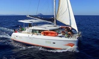 Thematic Day Cruises in Santorini Coast aboard the Lagoon 420 Sailboat