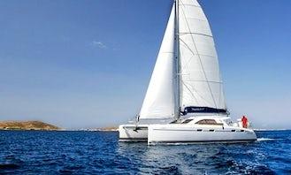 Memorable Sail to Santorini aboard the Nautitech 47 Cruising Catamaran