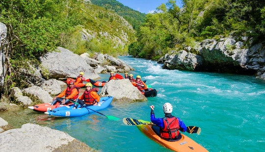 Kayak Rafting Down The River In Castellane