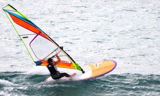Windsurfing in Bishopton Lake, UK