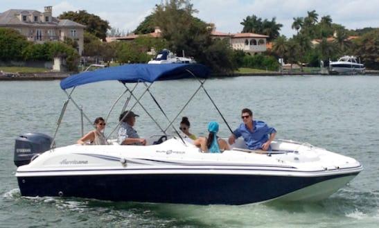 Charter 20' Deck Boat Blue Hurricane Rental In Miami Beach, Florida