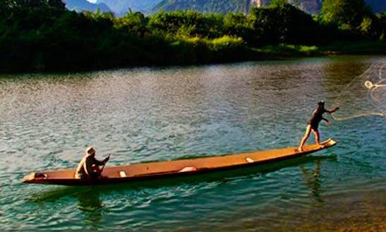 Row Boat Fishing Tour In Vang Vieng