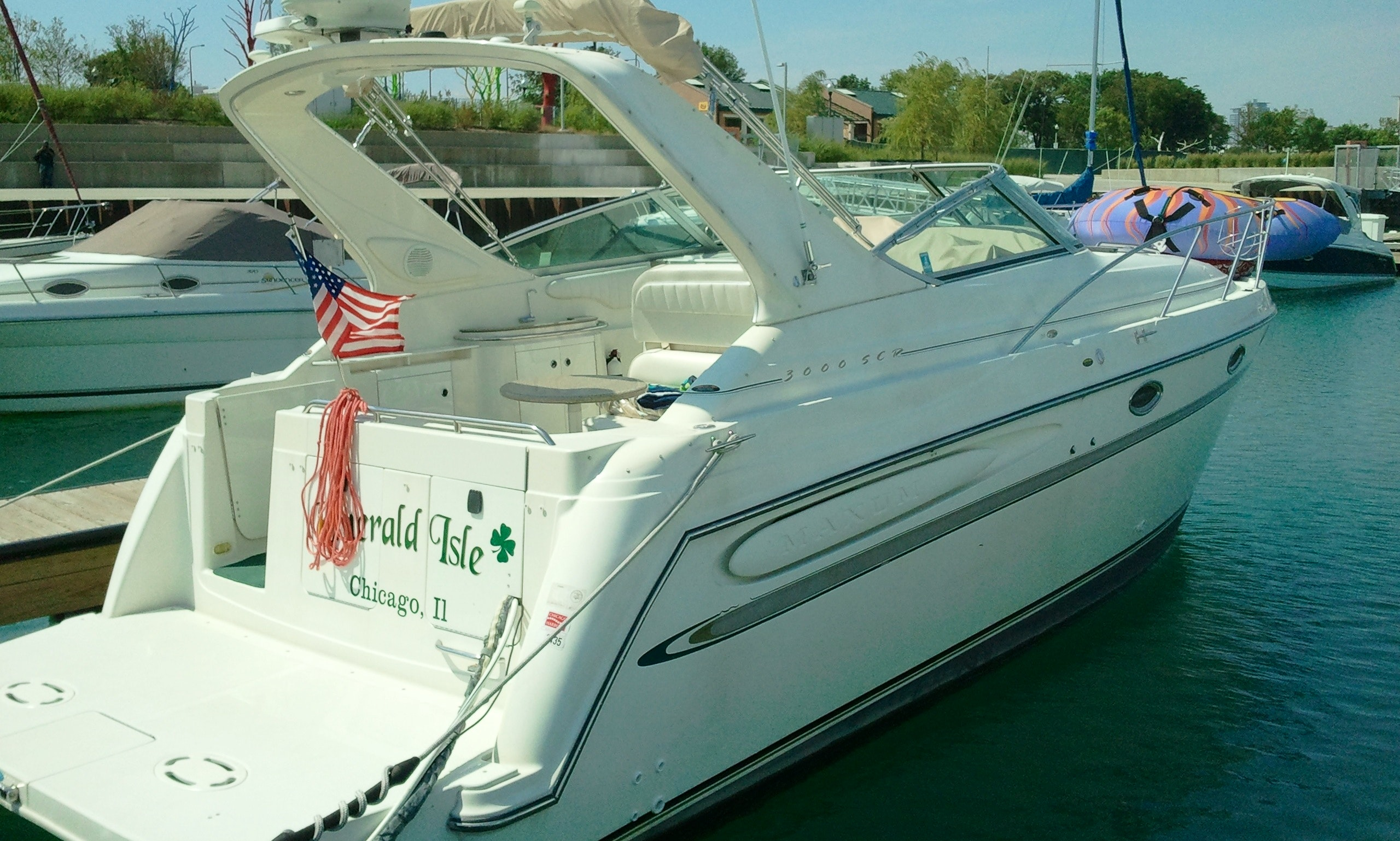 """Emerald Isle"" Motor Yacht Charter 31st street Harbor Chicago"