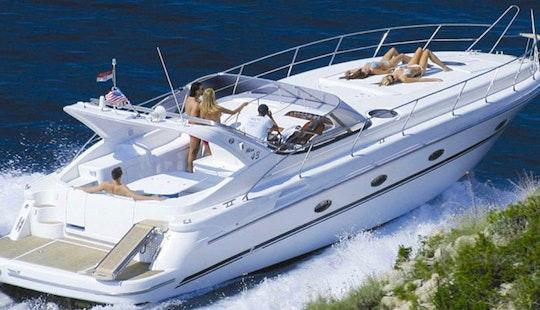 Enjoy Captained Mira 43 Motor Yacht Rental In Arzachena, Italy