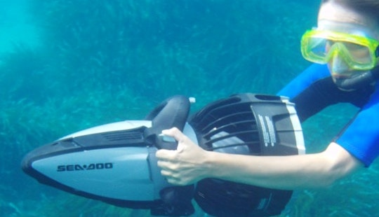 Snorkeling With Sea Scooter In Ciutadella De Menorca Illes Balears, Spain