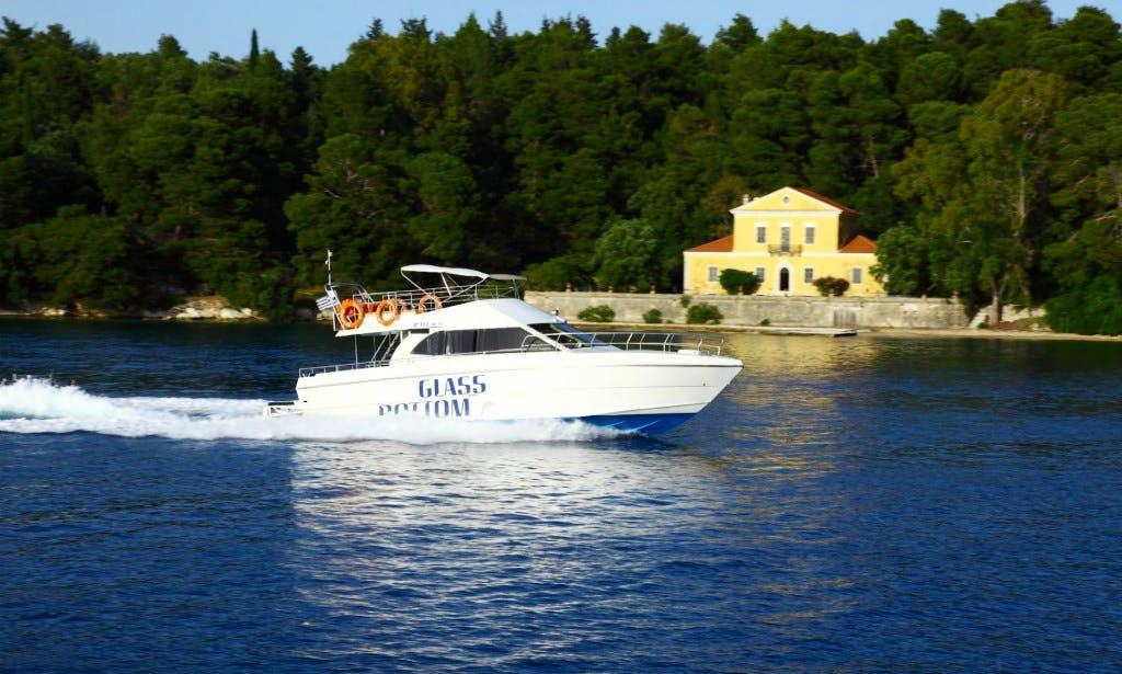 Glass Bottom Boat Cruising in Nidri, Greece