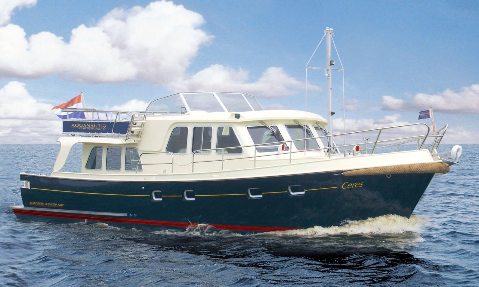 "Explore Sneek, Netherlands on 43' Motor Yacht Hire ""Ceres"""
