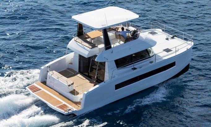 Skipper the Fountaine Pajot My 37 Power Catamaran in Cogolin