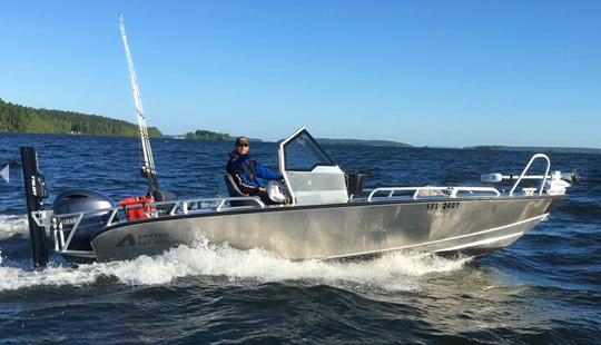 Enjoy Fishing In Stockholm, Sweden Fishing On A Center Console Aluminum Boat