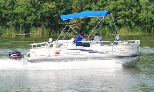 Fishing in Ontario, Canada on 18' Pontoon Pleasure craft