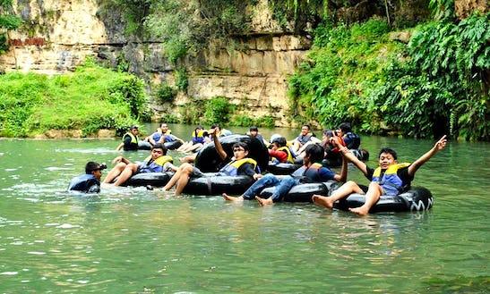 River Tubing On Oyo River In Yogyakarta, Indonesia