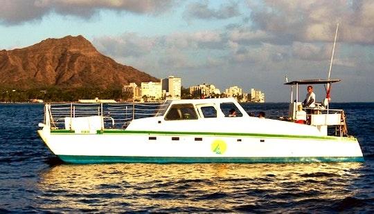 Charter 40' Power Catamaran In Honolulu, Hawaii