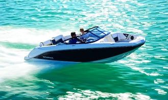 20' Scarab Sports Boat in Miami Beach with Captain, Gas and Watersports Equipment Included