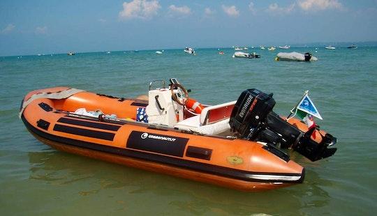 Rent 16' Gommorizzo 450 Rigid Inflatable Boat In Villanova, Italy