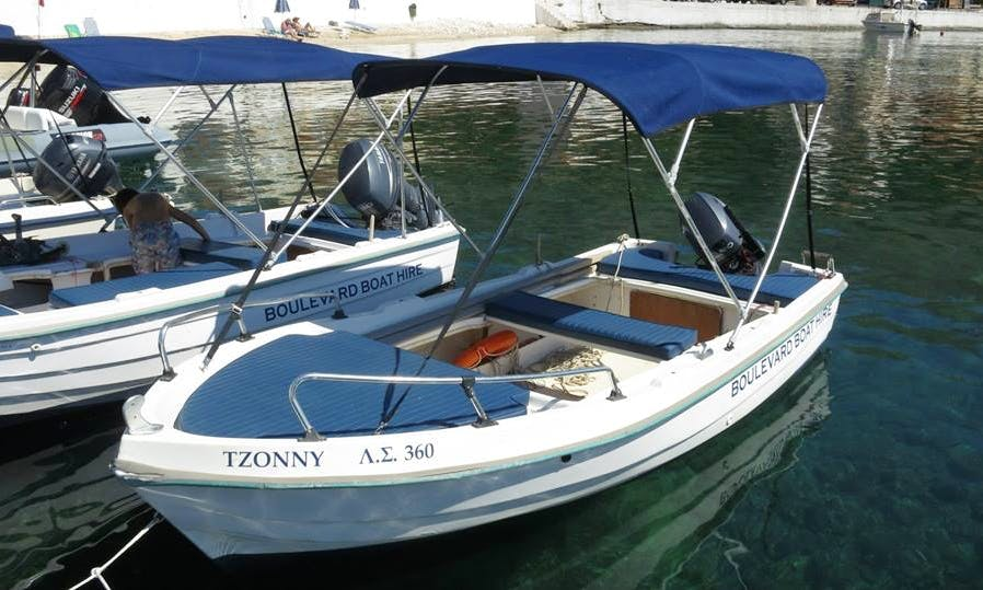 Cruise on an easy-to-drive boat rental Agia Effimia, Greece