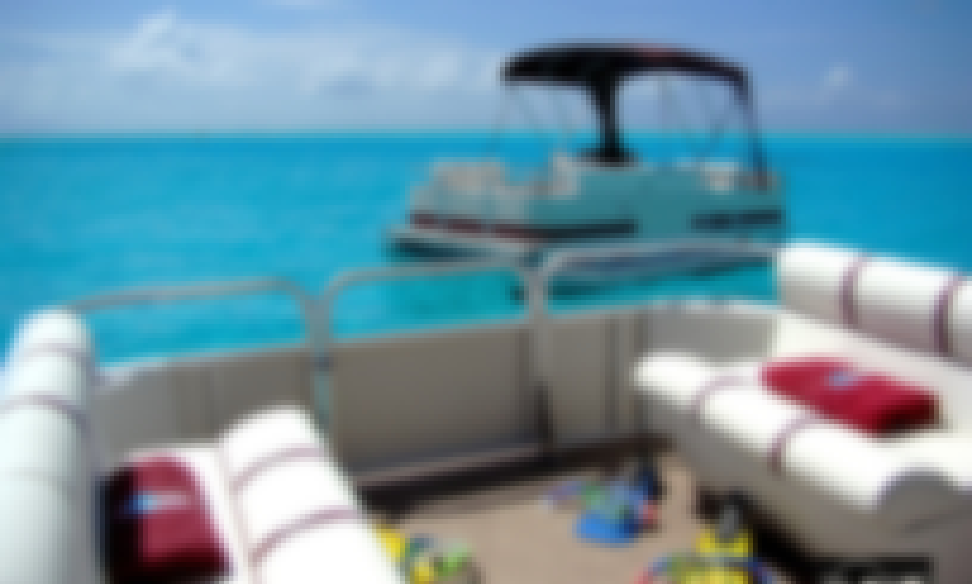 6hp Pontoon 16' Self Drive Rental in Bora-Bora
