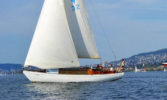 Exclusive Oldtimer Sailing Yacht, Switzerland On Cruising Monohull, Sailing Lake Of Zuerich