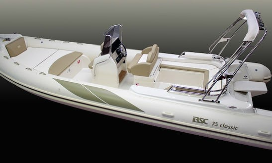Rent The 25' Rigid Inflatable (2009) - Bsc Colzani 750 Classic + 250 Hp Yamaha 4t V6 Efi,  In Platja D'aro, (costa Brava - Spain).