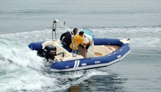 Rent The 19' Semirigid Inflatable (2017) Tarpon 590 Lx + 115 Hp Evinrude E-tec In Platja D'aro, (costa Brava - Spain).