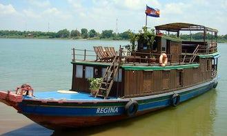Charter 60' Custom Wooden Boat on Tonle Sap Rive in Krong Kampong Chhnang