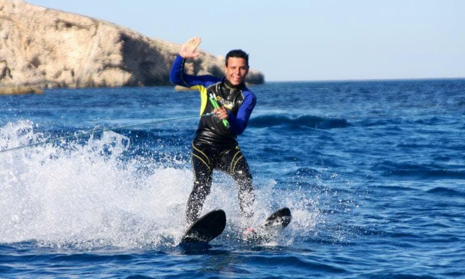 Waterskiing at Hondoq Bay, Malta