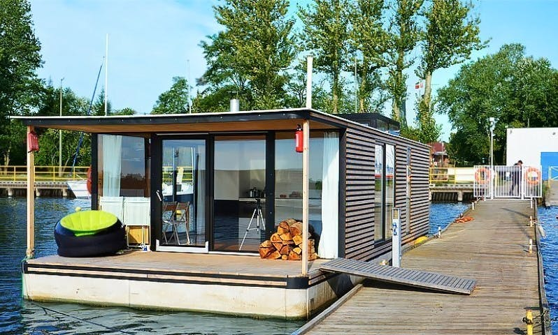 Experience Houseboat HT6 with 3 Bedrooms and Floating Terrace in Mielno, Poland