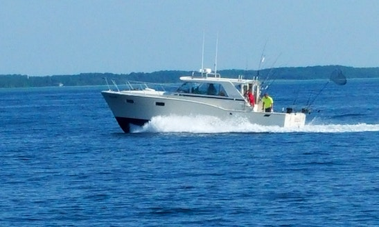 Fishing charter on 35ft hooked up viking yacht in sevastop for Algoma fishing charters