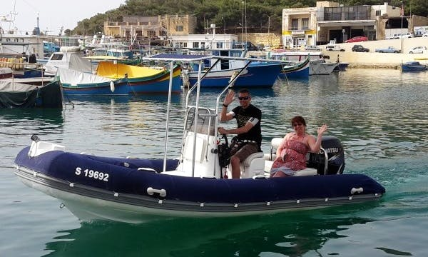 Rent 17' Rigid Inflatble Boat in Għajnsielem, Malta for 7 Pax