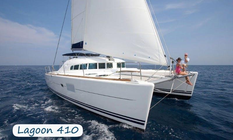 Charter 41' Lagoon Cruising Catamaran at Elba Island, Italy